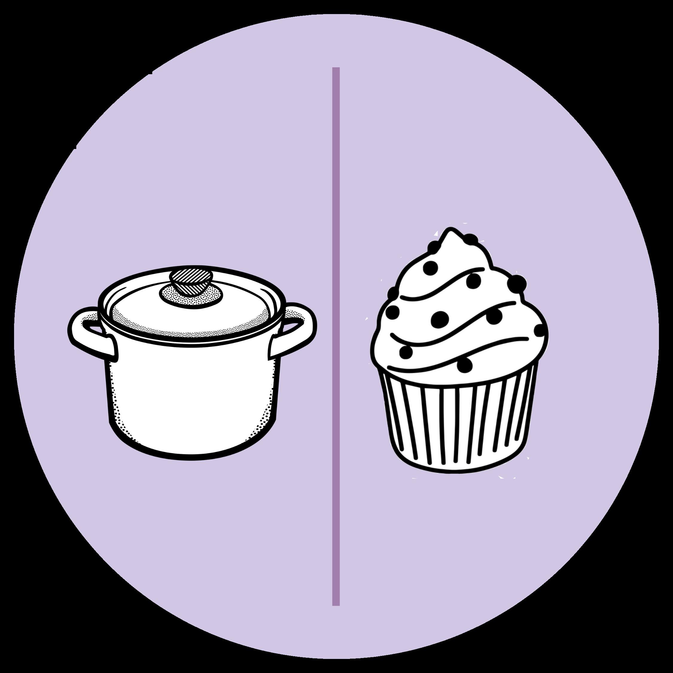 Lila Kreis, darauf weißer Kochtopf als Zeichnung und weißer Cupcake als Zeichnung
